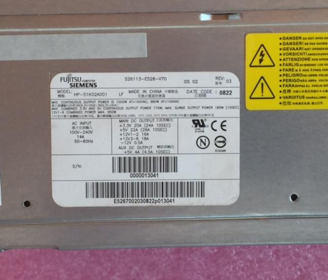Fujitsu S26113-E526-V70 1000 watt Power Supply (New, 90 day warranty)
